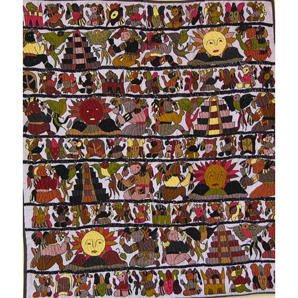Cotton White Embroidered Mayan Tapestry (Guatemala)