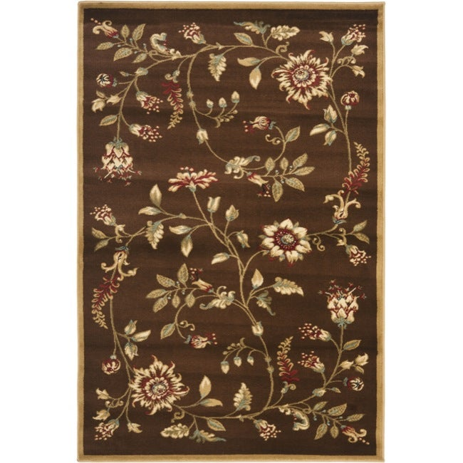 Safavieh Lyndhurst Traditional Floral Brown/ Multi Rug (3'3 x 5'3)