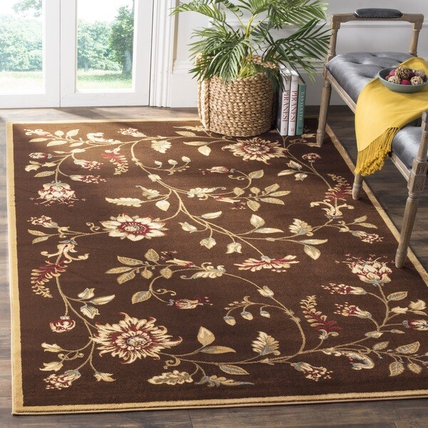 Safavieh Lyndhurst Traditional Floral Brown/ Multi Rug (6'7 x 9'6)