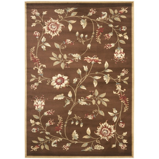 Safavieh Lyndhurst Traditional Floral Brown/ Multi Rug (9' x 12')