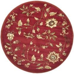 "Safavieh Lyndhurst Traditional Floral Red/ Multi Rug - 5'3"" x 5'3"" round - Thumbnail 0"