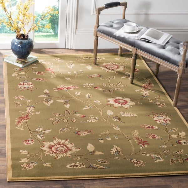 Safavieh Lyndhurst Traditional Floral Green/ Multi Rug - 6'7 x 9'6