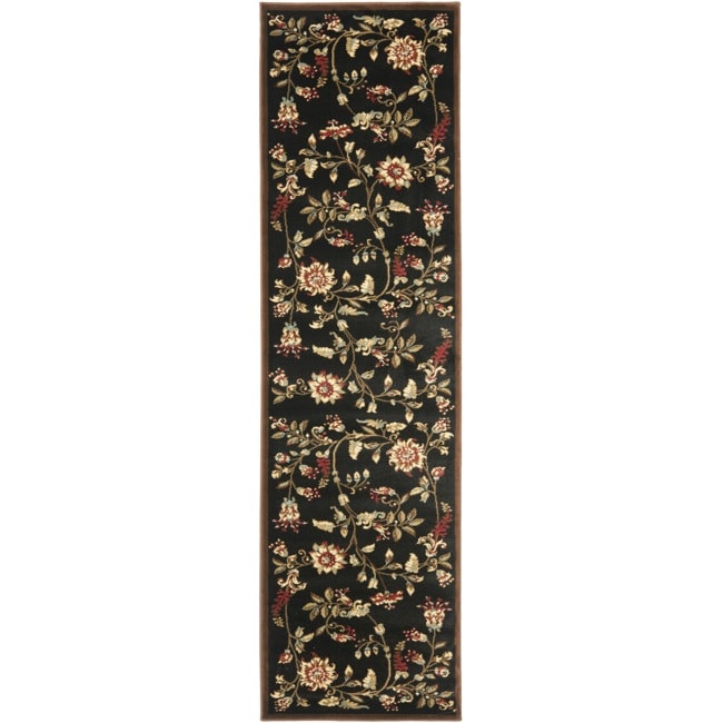 Safavieh Lyndhurst Traditional Floral Black/ Multi Rug (2'3 x 8')