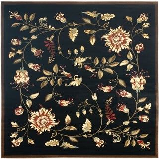 Safavieh Lyndhurst Traditional Floral Black/ Multi Rug (6'7 Square)