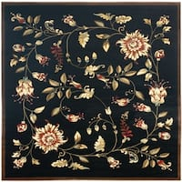 "Safavieh Lyndhurst Traditional Floral Black/ Multi Rug - 6'7"" x 6'7"" square"