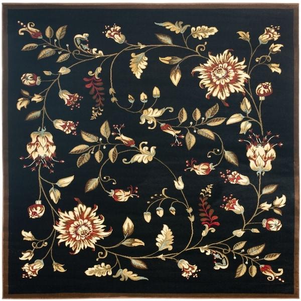 "Safavieh Lyndhurst Traditional Floral Black/ Multi Rug - 6'7"" x 6'7"" square"
