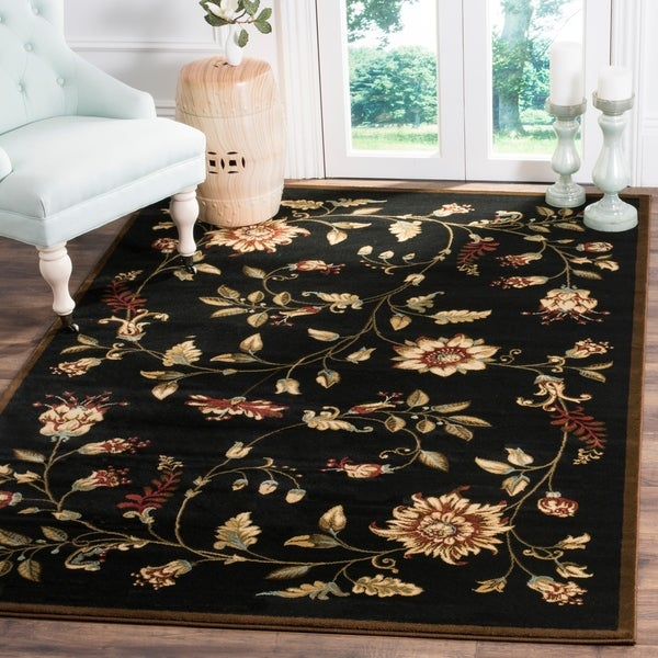 "Safavieh Lyndhurst Traditional Floral Black/ Multi Rug - 6'7"" x 9'6"""