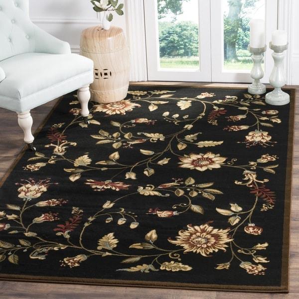 Safavieh Lyndhurst Traditional Floral Black/ Multi Rug (6'7 x 9'6)