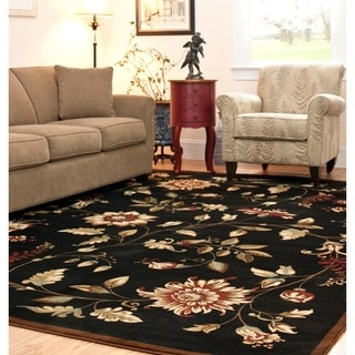 Safavieh Lyndhurst Traditional Floral Black/ Multi Rug (8' x 11')
