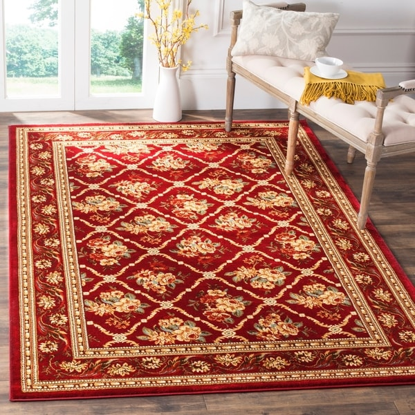 "Safavieh Lyndhurst Traditional Floral Trellis Red Rug - 6'7"" x 9'6"""