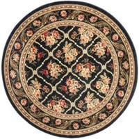 "Safavieh Lyndhurst Traditional Floral Trellis Black Rug - 5'3"" x 5'3"" round"