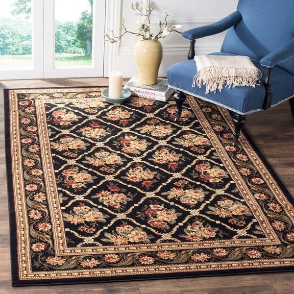"Safavieh Lyndhurst Traditional Floral Trellis Black Rug - 6'7"" x 9'6"""