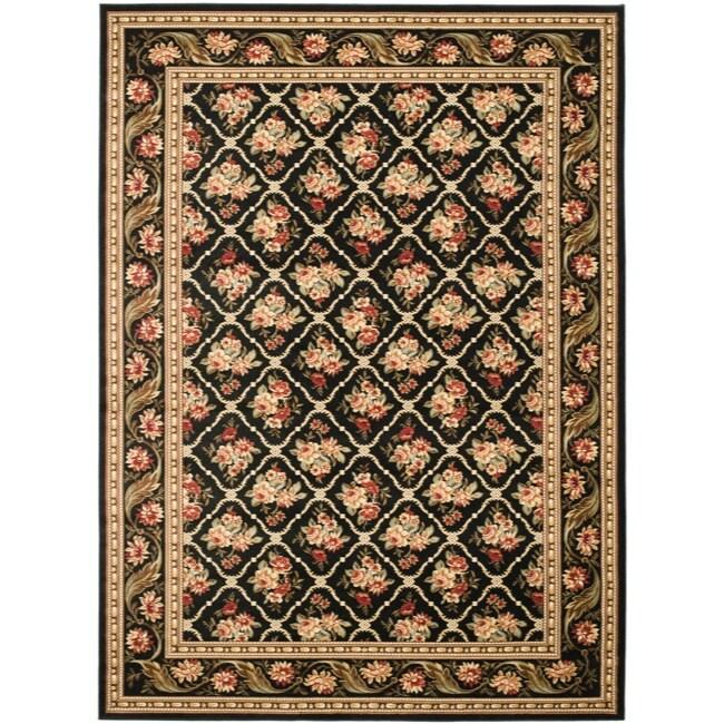 Safavieh Lyndhurst Traditional Floral Trellis Black Rug (9' x 12')