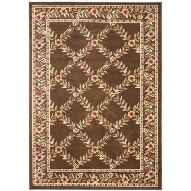 Safavieh Lyndhurst Traditional Floral Trellis Ivory/ Brown Rug - 5'3 x 7'6