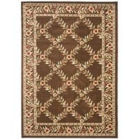 Safavieh Lyndhurst Traditional Floral Trellis Ivory/ Brown Rug (5'3 x 7'6)