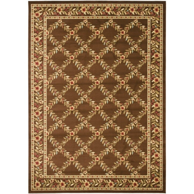 Safavieh Lyndhurst Traditional Floral Trellis Ivory/ Brown Rug (9' x 12')