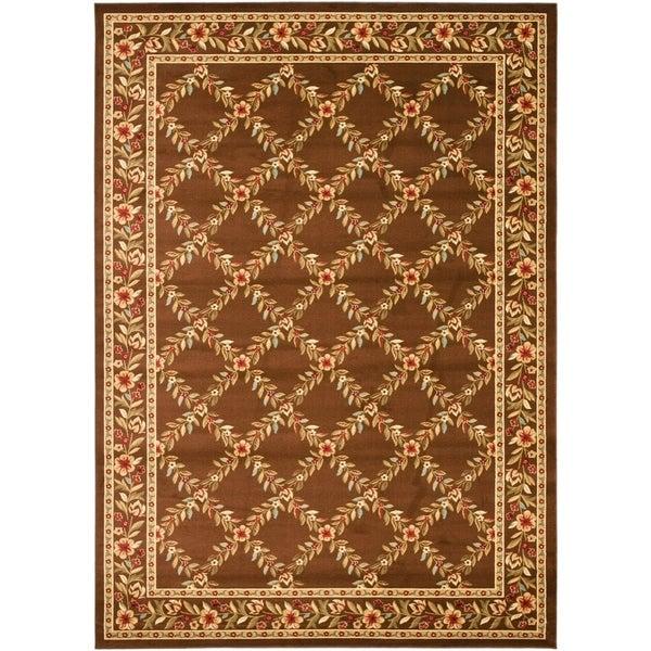 "Safavieh Lyndhurst Traditional Floral Trellis Ivory/ Brown Rug - 8'9"" x 12'"