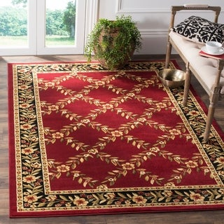 Safavieh Lyndhurst Traditional Floral Trellis Red/ Black Rug (5'3 x 7'6)
