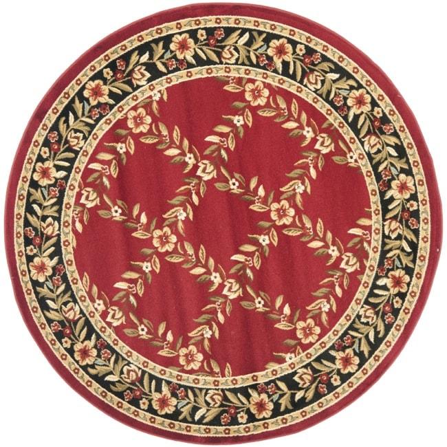 Safavieh Lyndhurst Traditional Floral Trellis Red/ Black Rug (5'3 Round)
