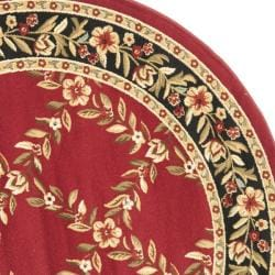 Safavieh Lyndhurst Traditional Floral Trellis Red/ Black Rug (5'3 Round) - Thumbnail 1