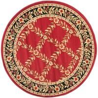 "Safavieh Lyndhurst Traditional Floral Trellis Red/ Black Rug - 5'3"" x 5'3"" round"