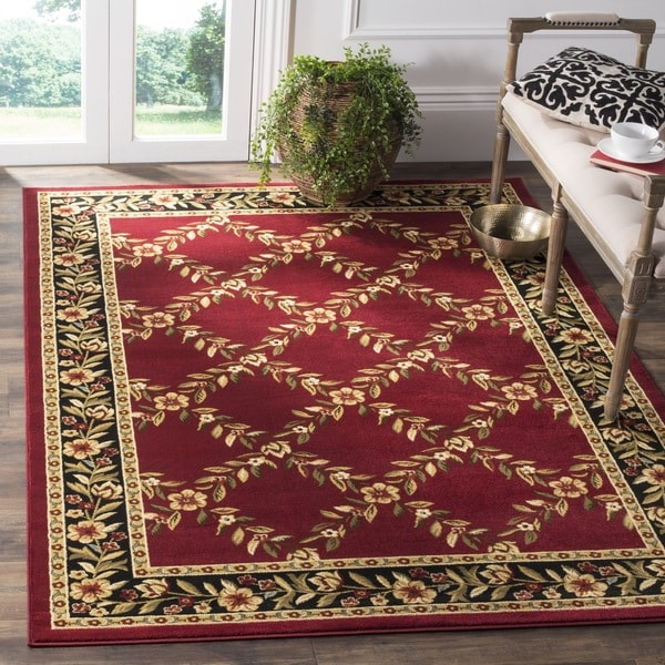 Safavieh Lyndhurst Traditional Floral Trellis Red/ Black Rug (8' 9 x 12')