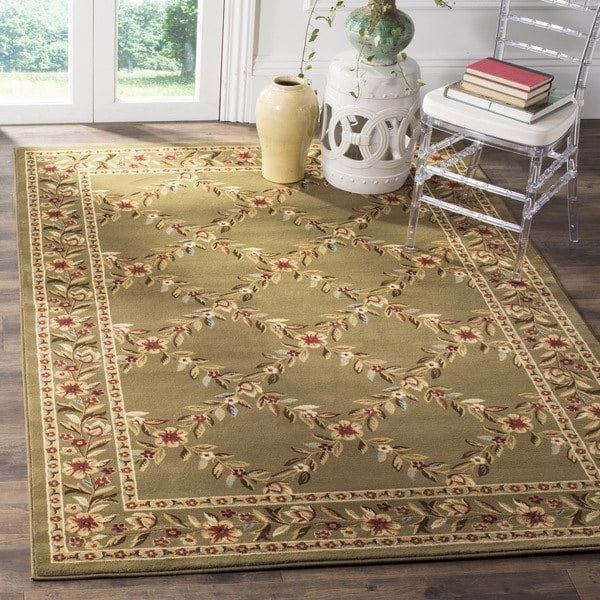 Safavieh Lyndhurst Traditional Floral Trellis Green Rug (6'7 Square) - 6'7 Square