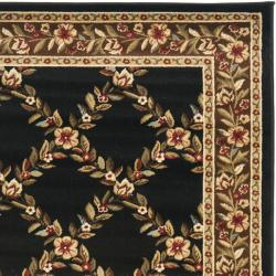 Safavieh Lyndhurst Traditional Floral Trellis Black/ Brown Rug (3'3 x 5'3) - Thumbnail 1