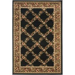 Safavieh Lyndhurst Traditional Floral Trellis Black/ Brown Rug (3'3 x 5'3)