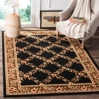 Safavieh Lyndhurst Traditional Floral Trellis Black/ Brown Rug (4' x 6')