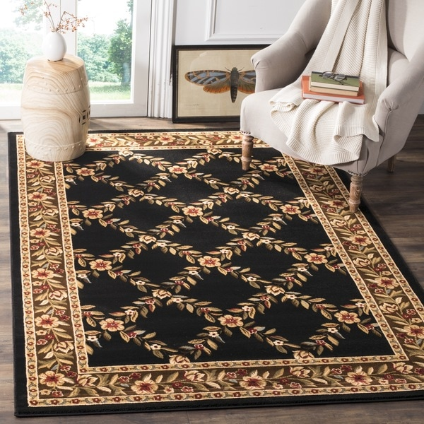 Safavieh Lyndhurst Traditional Floral Trellis Black/ Brown Rug (4' x 6')