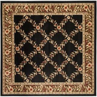 Safavieh Lyndhurst Traditional Floral Trellis Black/ Brown Rug (6'7 Square)