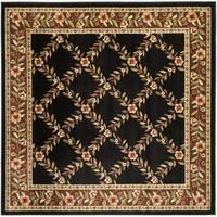 "Safavieh Lyndhurst Traditional Floral Trellis Black/ Brown Rug - 6'7"" x 6'7"" square"