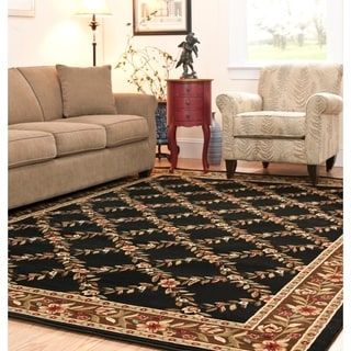 Safavieh Lyndhurst Traditional Floral Trellis Black/ Brown Rug (8' x 11')