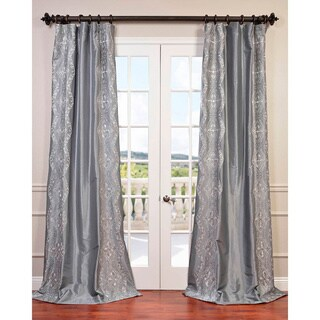 Exclusive Fabrics Chai Embroidered Faux Silk Curtain Panel