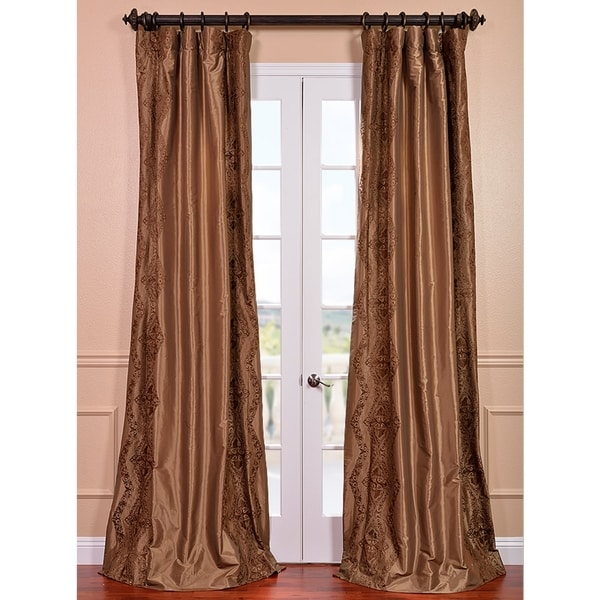 Exclusive Fabrics Chai Embroidered Faux Silk 108-inch Curtain Panel