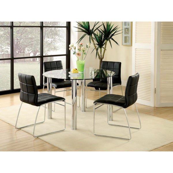 Furniture Of America Donnabella 5 Piece Chrome Plated Steel Dining Set