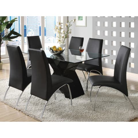 Furniture of America Nole Modern White Faux Leather 7-piece Dining Set