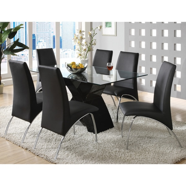 Furniture Of America Chambers 7 Piece Contemporary Glass Top Dining Set