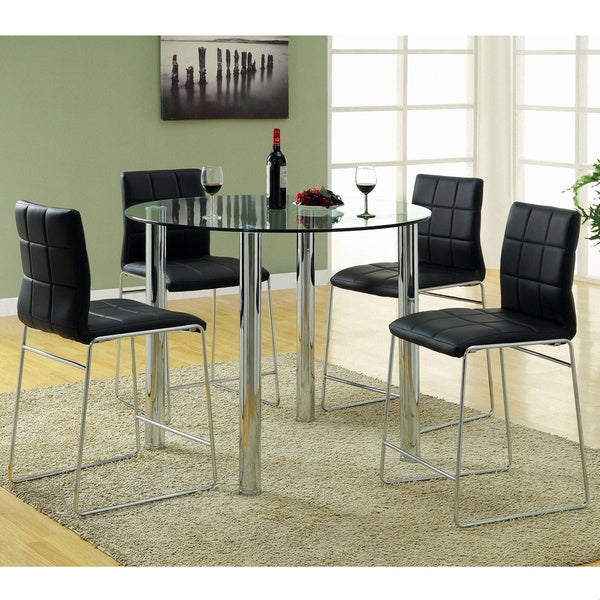 Furniture of America Donnabella 5-piece High-gloss Counter Height Dining Set