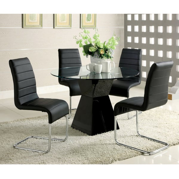 Furniture of America u0026#x27;Athenau0026#x27; 5-piece High-  sc 1 st  Overstock.com & Furniture of America u0027Athenau0027 5-piece High-Gloss Dining Set - Free ...