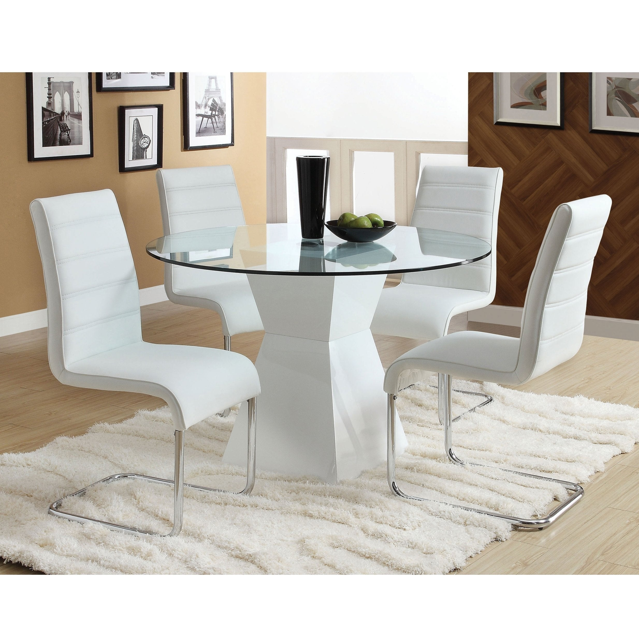 Athenau0027 Contemporary White 5 Piece High Gloss Dining Set By FOA