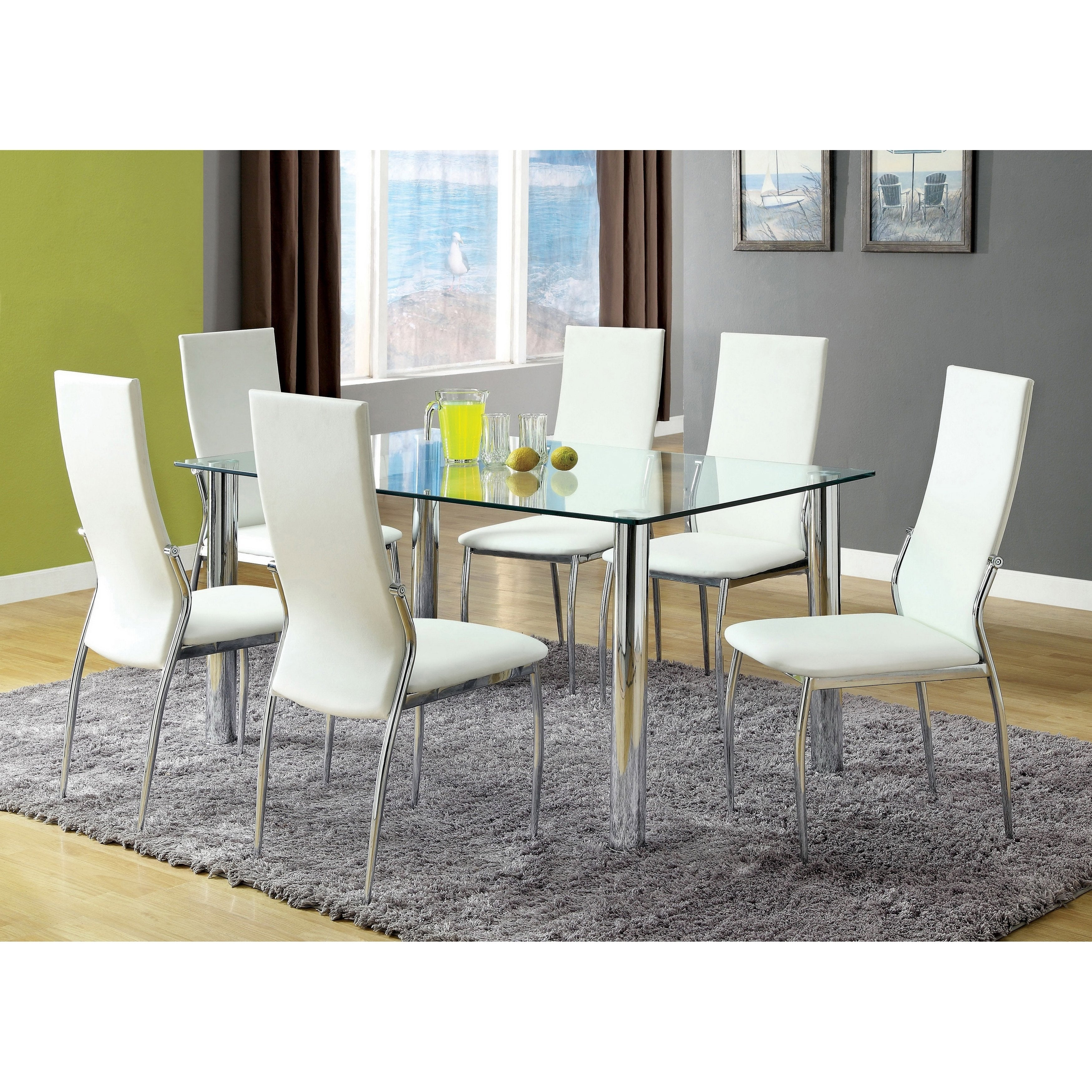 Furniture Of America Bona Modern White Faux Leather 7 Piece Dining Set Overstock 6521228