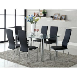 Furniture of America Bona Modern White Faux Leather 7-piece Dining Set