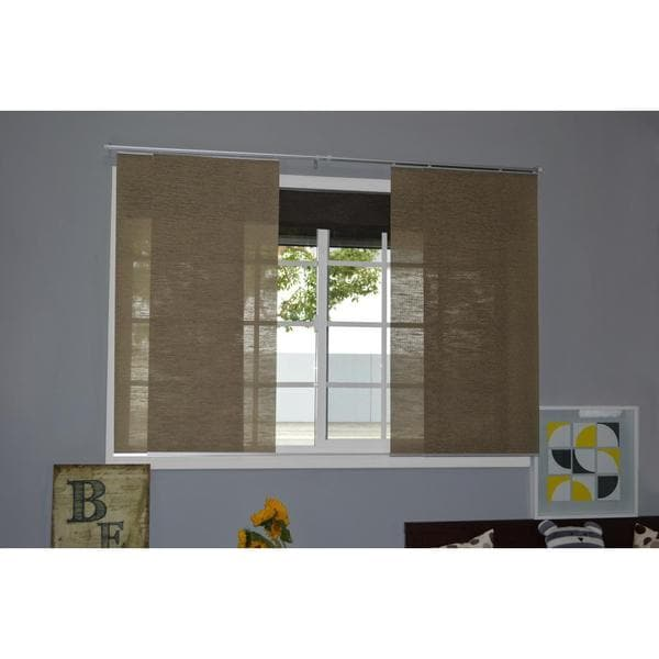Chicology Adjustable Sliding Panel Cordless Shade Double Rail Track Privacy Fabric 80-inch x 96-inch Nevada Timberwolf