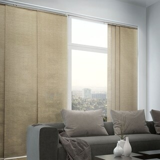 "Chicology Adjustable Sliding Panel, Classic - Natural Woven, Privacy, 80""W X 96""H - Nevada Timberwolf"
