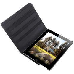 Black Crocodile Skin 360-degree Swivel Leather Case for Apple iPad 2
