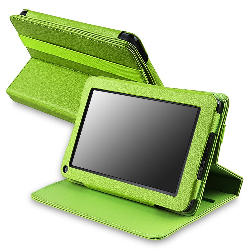 Green 360-degree Swivel Leather Case for Amazon Kindle Fire