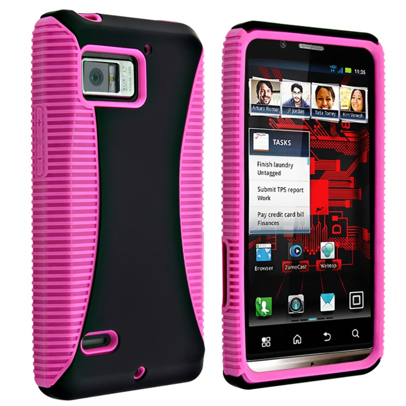 INSTEN Hot Pink TPU/ Black Hard Plastic Hybrid Phone Case Cover for Motorola Droid Bionic XT875