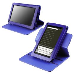 Blue 360-degree Swivel Leather Case for Amazon Kindle Fire